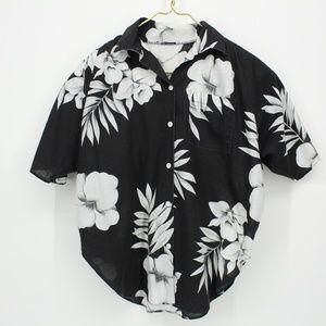 Vintage Black & White Hawaiian Shirt